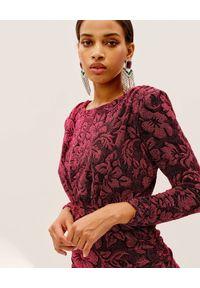 Czerwona sukienka mini For Love & Lemons z długim rękawem, dopasowana, w kwiaty