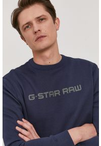 G-Star RAW - G-Star Raw - Bluza. Okazja: na co dzień. Kolor: niebieski. Wzór: aplikacja. Styl: casual
