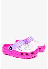 Casu - Różowe klapki piankowe basenowe z ozdobą casu 6326. Kolor: różowy. Wzór: aplikacja