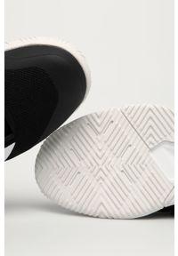 Czarne buty sportowe adidas Performance na obcasie, z okrągłym noskiem