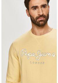 Pepe Jeans - Bluza bawełniana George. Okazja: na co dzień. Kolor: żółty. Materiał: bawełna. Wzór: nadruk. Styl: casual