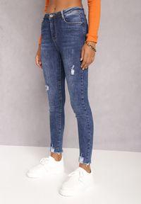 Renee - Granatowe Jeansy Skinny Hipponia. Kolor: niebieski. Wzór: aplikacja. Styl: elegancki #4