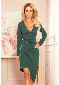 Numoco - Asymetryczna Sukienka Kopertowa z Drapowaniem - Zielona. Kolor: zielony. Materiał: elastan, poliester. Typ sukienki: kopertowe, asymetryczne