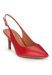 Czerwone szpilki Wittchen z paskami, na szpilce, w kolorowe wzory, na średnim obcasie