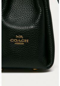 Coach - Torebka skórzana. Kolor: czarny. Materiał: skórzane. Rodzaj torebki: na ramię