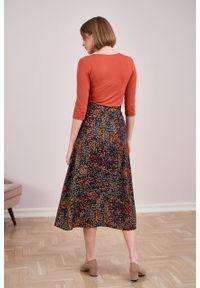 Marie Zélie - Spódnica Rachela Saxa bordowa. Kolor: czerwony. Materiał: bawełna, wiskoza. Wzór: gładki