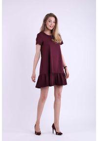 Nommo - Bordowa Mini Sukienka w Romantycznym Stylu. Kolor: czerwony. Materiał: wiskoza, poliester. Długość: mini