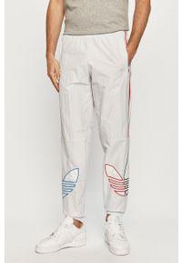 adidas Originals - Spodnie. Kolor: szary. Materiał: materiał, tkanina. Wzór: aplikacja