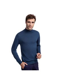 Niebieski sweter Giacomo Conti na co dzień, elegancki, w kolorowe wzory, na jesień
