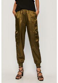 Zielone spodnie materiałowe only na co dzień, z podwyższonym stanem, casualowe