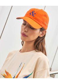 PAPROCKI&BRZOZOWSKI - Pomarańczowa czapka z logo. Kolor: pomarańczowy. Materiał: bawełna. Wzór: nadruk