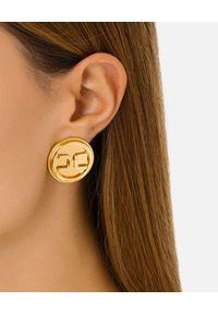 Elisabetta Franchi - ELISABETTA FRANCHI - Okrągłe kolczyki z monogramem. Materiał: metalowe. Kolor: złoty