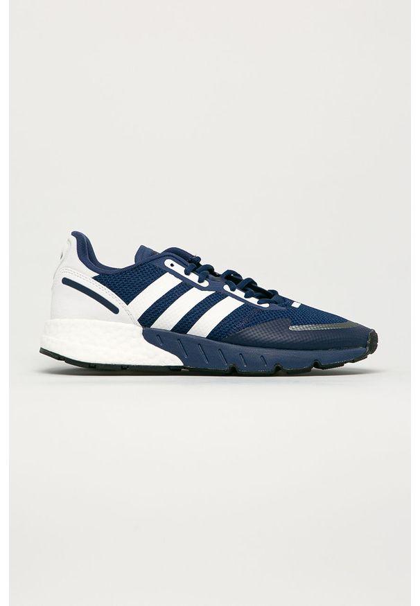 Niebieskie sneakersy adidas Originals Adidas ZX, z okrągłym noskiem, na sznurówki, z cholewką