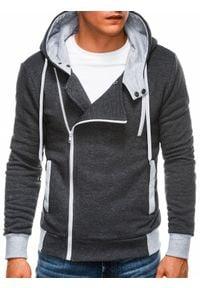 Ombre Clothing - Bluza męska rozpinana z kapturem B297 - grafitowa - XXL. Typ kołnierza: kaptur. Kolor: szary. Materiał: bawełna, dzianina, poliester