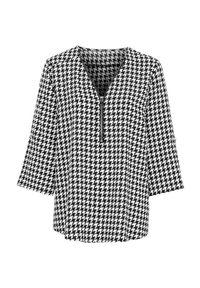 Cellbes Bluzka ze srebrnym zamkiem Czarny biały female czarny/biały 34/36. Typ kołnierza: dekolt w serek. Kolor: wielokolorowy, biały, czarny. Materiał: tkanina