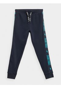 4f - Spodnie dresowe joggery chłopięce. Kolor: niebieski. Materiał: dresówka