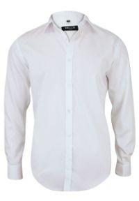 Bello - Bawełniana Biała Elegancka Koszula - BELLO - Taliowana, Długi Rękaw. Okazja: do pracy, na spotkanie biznesowe. Kolor: biały. Materiał: bawełna. Długość rękawa: długi rękaw. Długość: długie. Styl: elegancki