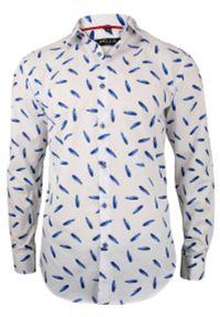 Bello - Biała Koszula Wizytowa, Długi Rękaw - BELLO - Taliowana, Elegancka, w Chabrowe Piórka. Okazja: do pracy, na spotkanie biznesowe. Kolor: niebieski. Materiał: bawełna. Długość rękawa: długi rękaw. Długość: długie. Styl: wizytowy, elegancki