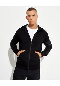 MONCLER - Czarna bluza z kapturem. Typ kołnierza: kaptur. Kolor: czarny. Materiał: bawełna, guma. Wzór: paski