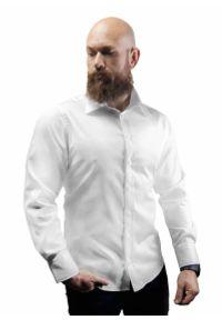 Biała elegancka koszula Atleto z klasycznym kołnierzykiem, długa