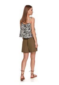 TOP SECRET - Bluzka we wzory na cienkich wiązanych ramiączkach. Kolor: czarny. Materiał: dzianina. Długość rękawa: na ramiączkach. Wzór: nadruk. Sezon: lato. Styl: wakacyjny, elegancki