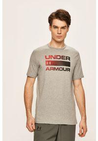 Szary t-shirt Under Armour z nadrukiem, z okrągłym kołnierzem