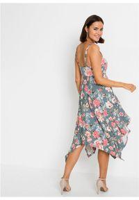 Szara sukienka bonprix midi, w kwiaty, asymetryczna