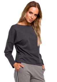 MOE - Stalowa Bazowa Bluzka Oversize z Dekoltem na Plecach. Kolor: szary. Materiał: bawełna, elastan
