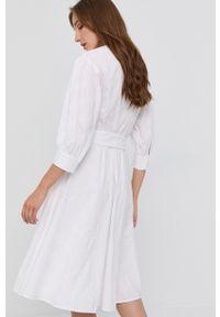 Karl Lagerfeld - Sukienka bawełniana. Kolor: biały. Materiał: bawełna. Typ sukienki: rozkloszowane