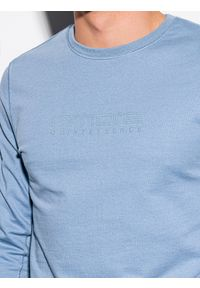 Niebieska bluza Ombre Clothing z nadrukiem, bez kaptura