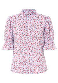 Bluzka z nadrukiem bonprix jasnoniebieski w kwiatowy wzór. Kolor: niebieski. Wzór: kwiaty, nadruk
