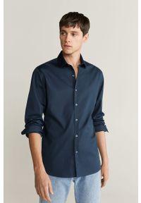 Niebieska koszula Mango Man długa, elegancka, z włoskim kołnierzykiem