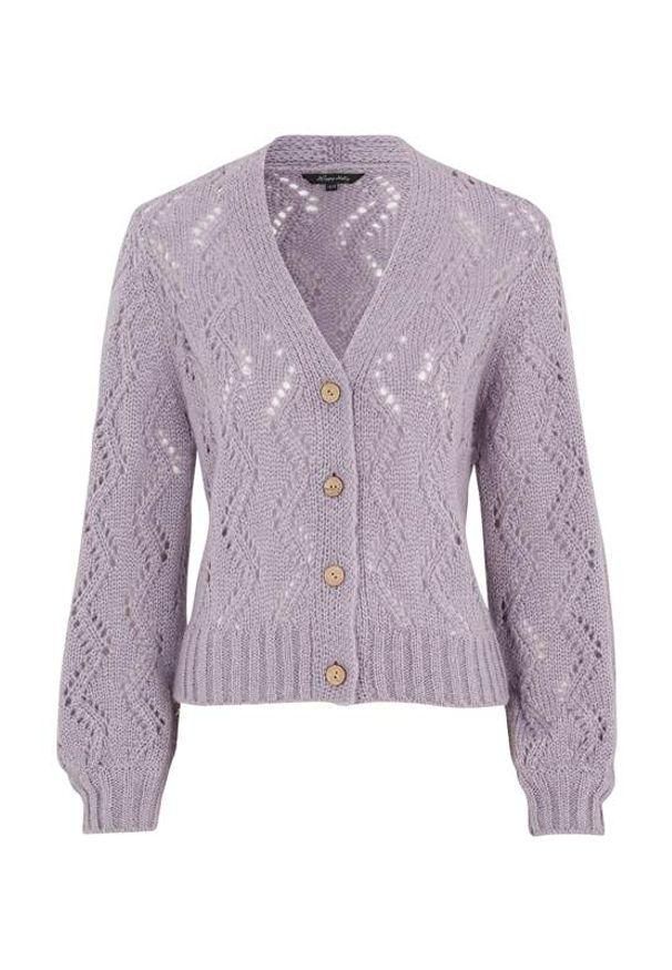 Fioletowy sweter Happy Holly krótki, z długim rękawem, z dekoltem w serek