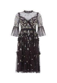 NEEDLE & THREAD - Czarna sukienka midi Shimmer Ditsy. Kolor: czarny. Materiał: tiul. Wzór: kwiaty, aplikacja. Długość: midi