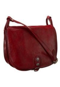 Torebka na ramię bordowa Badura T_D182CR_CD. Kolor: czerwony. Materiał: skórzane. Styl: vintage. Rodzaj torebki: na ramię