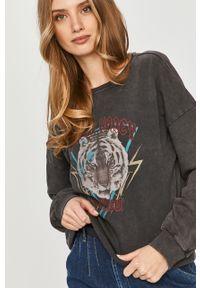 Szara bluza Answear Lab długa, z długim rękawem, z nadrukiem