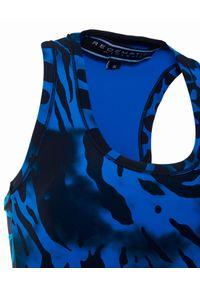 REDEMPTION ATHLETIX - Niebieski top ze zwierzęcym wzorem. Kolor: niebieski. Materiał: nylon, materiał. Długość: długie. Wzór: motyw zwierzęcy. Styl: elegancki, sportowy