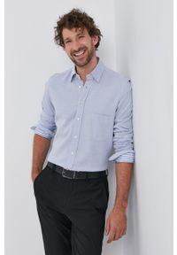 Emanuel Berg - Koszula bawełniana. Typ kołnierza: button down. Kolor: niebieski. Materiał: bawełna. Wzór: gładki