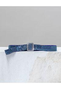 BENEDETTA BRUZZICHES - Niebieski pasek z kryształów Venus Belt. Kolor: niebieski. Materiał: jedwab. Styl: elegancki