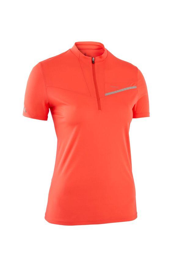 EVADICT - Koszulka do biegania w terenie damska. Kolor: różowy. Materiał: poliester, elastan, materiał. Sport: bieganie