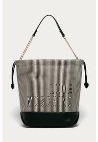 Czarna shopperka Love Moschino na ramię, skórzana