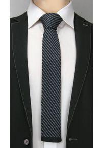 Dziergany Krawat Męski, Casual, Drobny Ukośny Wzorek -6,5cm- Chattier, Czarno-Siwy. Okazja: na co dzień. Kolor: czarny, wielokolorowy, szary. Materiał: poliester. Wzór: prążki, paski. Styl: casual