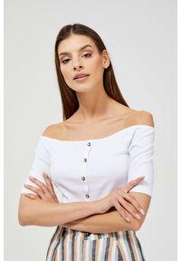 MOODO - Bluzka z odkrytymi ramionami. Materiał: bawełna, elastan. Długość rękawa: krótki rękaw. Długość: krótkie