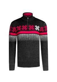 Szary sweter Dale of Norway na zimę, z golfem, w kolorowe wzory