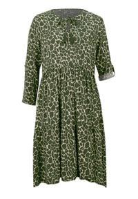 Sukienka koszulowa LENZING™ ECOVERO™ bonprix beżowo-szaro-ciemny khaki w cętki leoparda. Kolor: szary. Materiał: wiskoza. Wzór: nadruk. Typ sukienki: koszulowe