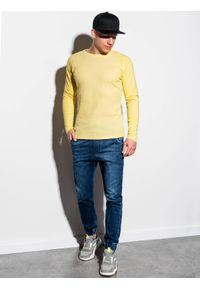 Ombre Clothing - Longsleeve męski bez nadruku L119 - żółty - XXL. Kolor: żółty. Materiał: bawełna, tkanina, poliester. Długość rękawa: długi rękaw