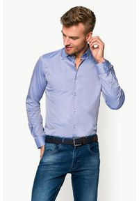 Niebieska koszula Lancerto z klasycznym kołnierzykiem, w kolorowe wzory, klasyczna