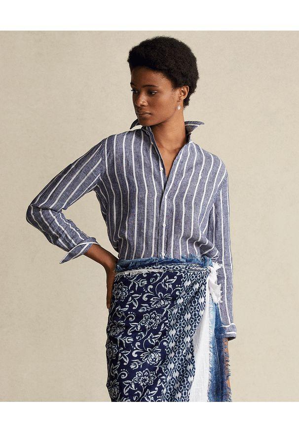 Ralph Lauren - RALPH LAUREN - Niebieska koszula w prążki. Typ kołnierza: polo. Kolor: biały. Materiał: len. Długość rękawa: długi rękaw. Długość: długie. Wzór: prążki. Sezon: wiosna. Styl: klasyczny, elegancki