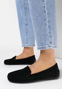 Born2be - Czarne Mokasyny Aglaomei. Nosek buta: okrągły. Zapięcie: pasek. Kolor: czarny. Materiał: jeans. Obcas: na płaskiej podeszwie. Styl: klasyczny, elegancki