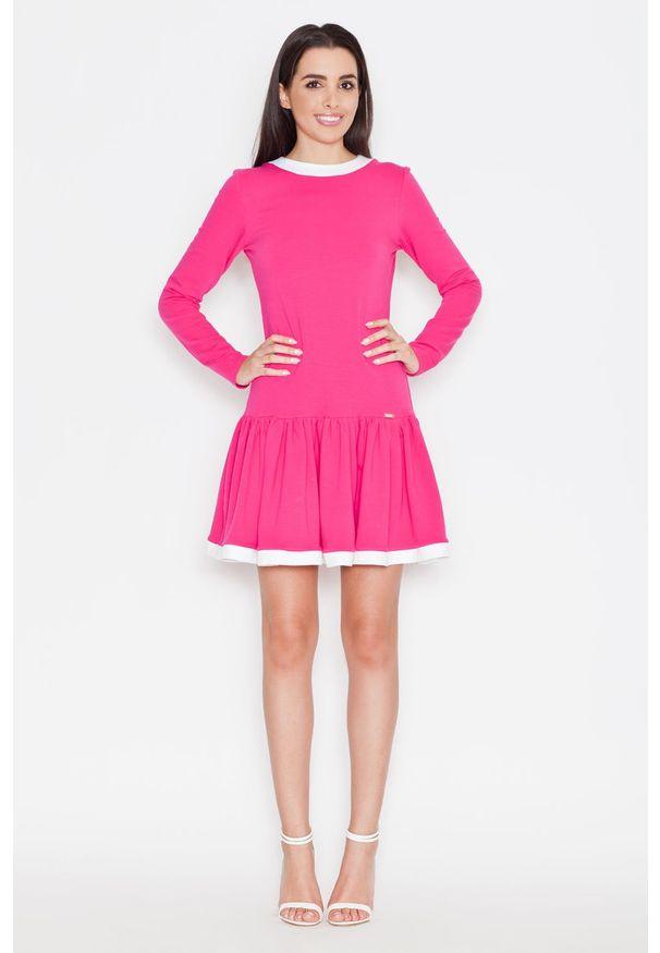 Różowa sukienka z falbanami Katrus prosta, z długim rękawem, casualowa